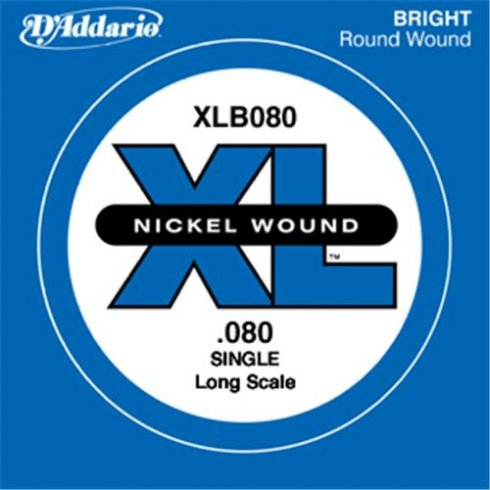 D'Addario XLB080 Nickel Wound XL Bass Single String .080 Long Scale