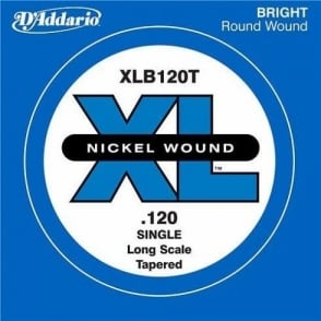 D'Addario XLB120T Nickel Wound XL Bass Single String .120 Long Scale Tapered