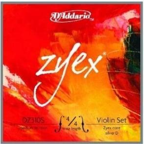 D'Addario Zyex Violin Silver D Medium 4/4 Strings Full Set