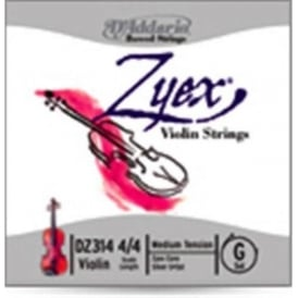 D'Addario DZ310 4/4M Zyex Violin String Set, 4/4 Scale, Medium Tension
