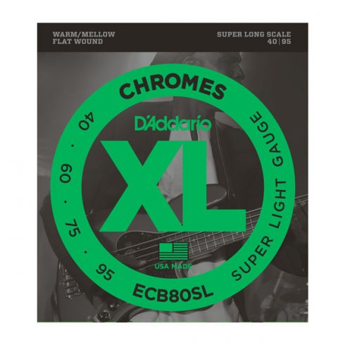 D'Addario ECB80SL Bass Guitar Strings, 4-String, Flatwound Chromes 40-95 Super Long