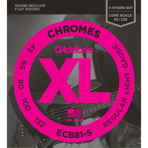 D'Addario ECB81-5SL Bass Guitar Strings, 5-String, Flatwound Chromes 45-132 Long Scale
