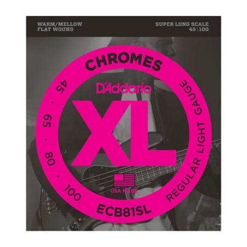 D'Addario ECB81SL Bass Guitar Strings, 4-String, Flatwound Chromes 45-100 Super Long