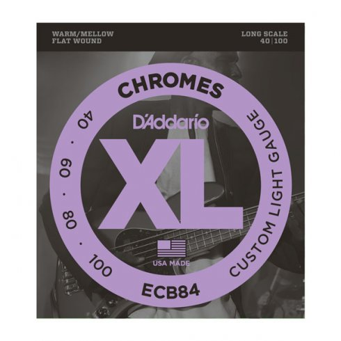 D'Addario ECB84 4-String Flatwound Chromes 40-100 Long Scale Bass Guitar Strings