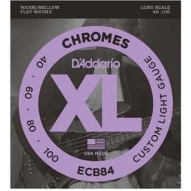 D'Addario ECB84 4-String Flatwound Chromes 40-100 Long Scale Bass Guitar Strings