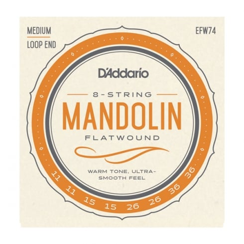 D'Addario EFW74 Flatwound Mandolin 11-36 Medium Gauge Strings