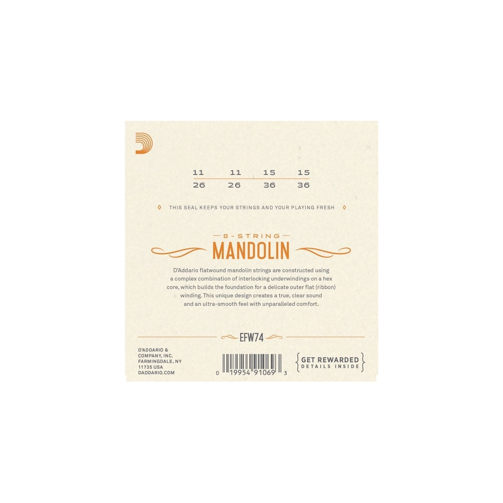 Mandolin Strings › D'Addario › D'Addario EFW74 Flatwound Mandolin ...