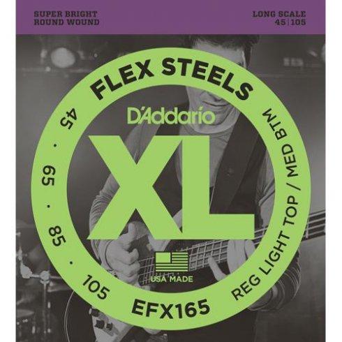 D'Addario EFX165 FlexSteels Bass Guitar Strings 45-105 Long Scale
