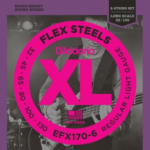 D'Addario EFX170-6 FlexSteels Bass Guitar Strings 32-130 Long Scale