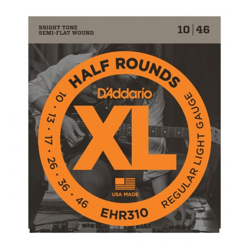 D'Addario EHR310 Half Rounds Stainless Steel Electric Guitar Strings 10-46 Regular Light