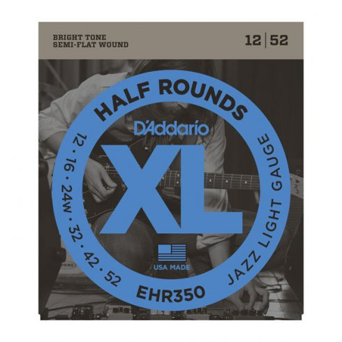 D'Addario EHR350 Half Rounds Stainless Steel Electric Guitar Strings 12-52 Jazz Light