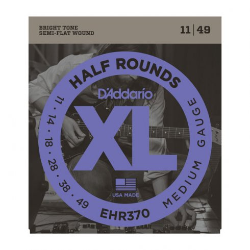 D'Addario EHR370 Half Rounds Stainless Steel Electric Guitar Strings 11-49 Medium
