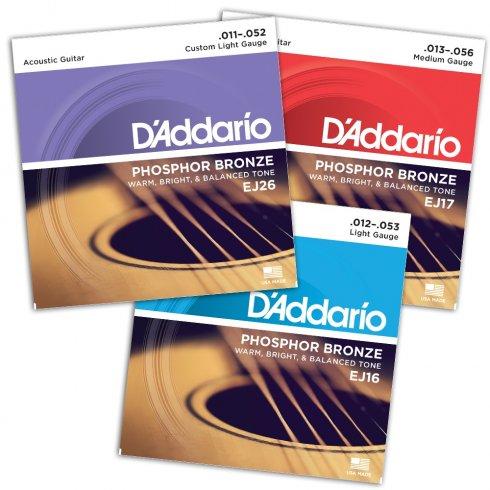 D'addario EJ Series EJ16/EJ17/EJ26 Variety Phosphor Acoustic Guitar Strings Bundle Pack