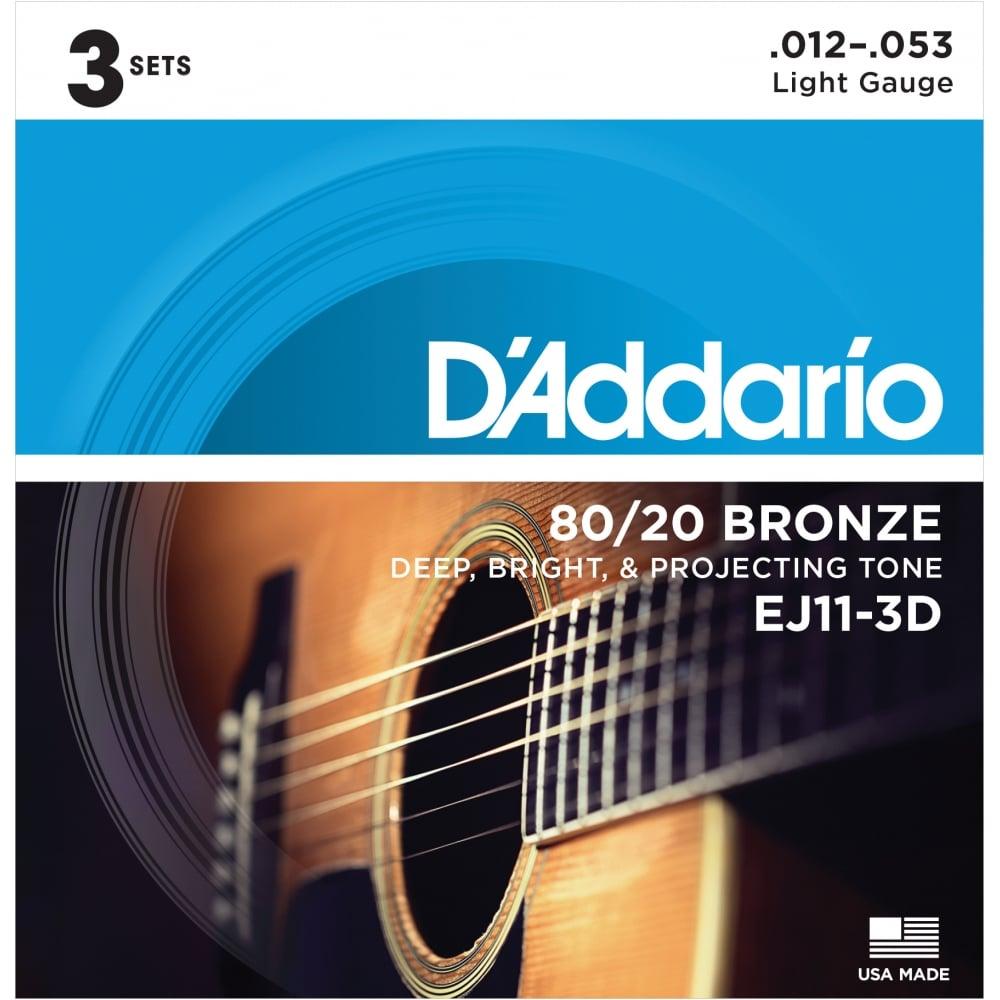 D Addario Ej11 3d 80 20 Bronze Acoustic Guitar Strings 12 53 Light 3 Pack Strings From Strings Direct Uk