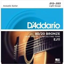 D'Addario EJ11 80/20 Bronze Acoustic Guitar Strings 12-53 Light