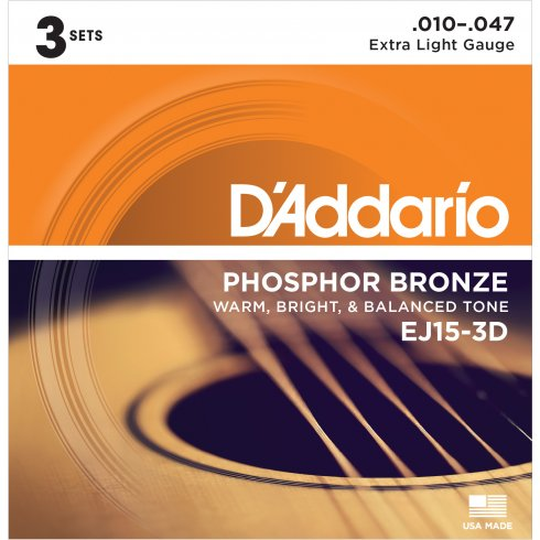 D'Addario EJ15-3D Phosphor Bronze Acoustic Guitar Strings 10-47 Extra Light 3-Pack