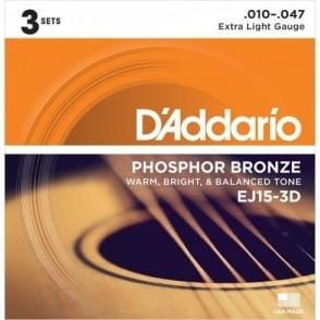 D'Addario EJ15-3D Phosphor Bronze Acoustic Guitar Strings 10-47 Extra Light 3-Pack