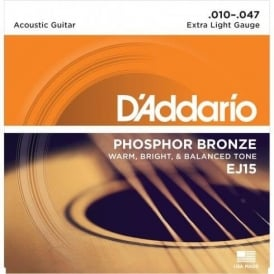 D'Addario EJ15 Phosphor Bronze Acoustic Guitar Strings 10-47 Extra Light