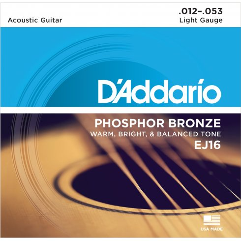 D'Addario EJ16-B25 Phosphor Bronze Acoustic Guitar Strings 12-53 Light, 25-Set Bulk Shop