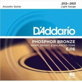 D'Addario EJ16-B25 Phosphor Bronze Acoustic Guitar Strings 12-53 Light, 25-Set Bulk Shop