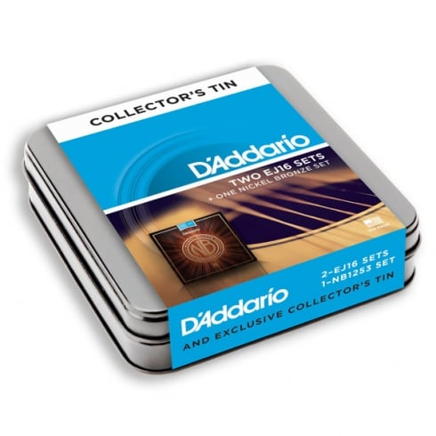 D'Addario EJ16 & Nickel Bronze Acoustic Strings Upgrade 3-Pack Tin - Light 12-53