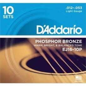 D'Addario EJ16 Phosphor Bronze Acoustic Guitar Strings 12-53 Light, 10-Pack