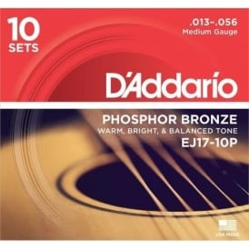 D'Addario EJ17-10P Phosphor Bronze Acoustic Guitar Strings 13-56 Medium, 10-Pack