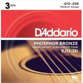 D'Addario EJ17-3D Phosphor Bronze Acoustic Guitar Strings 13-56 Medium 3-Pack