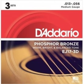 D'Addario EJ17-3D Phosphor Bronze Acoustic Guitar Strings 13-56 Medium 3-Pack