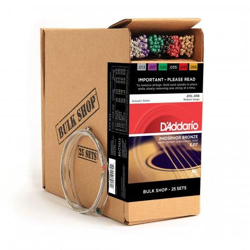 D'Addario EJ17-B25 Phosphor Bronze Acoustic Guitar Strings 13-56 Medium, 25-Set Bulk Shop