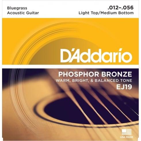 D'Addario EJ19 Phosphor Bronze Acoustic Guitar Strings 12-56 Bluegrass Gauge
