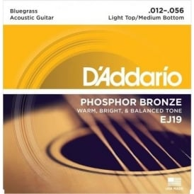 D'Addario EJ19 Phosphor Bronze Acoustic Guitar Strings 12-56 Bluegrass Gauge