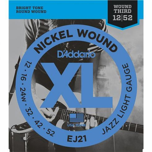 D'Addario EJ21 Nickel Wound Jazz w/ Wound 3rd 12-52 Light electric Guitar Strings