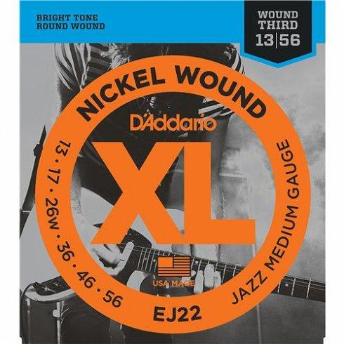 D'Addario EJ22 Nickel Wound Jazz w/ Wound 3rd 13-56 Medium Guitar Strings