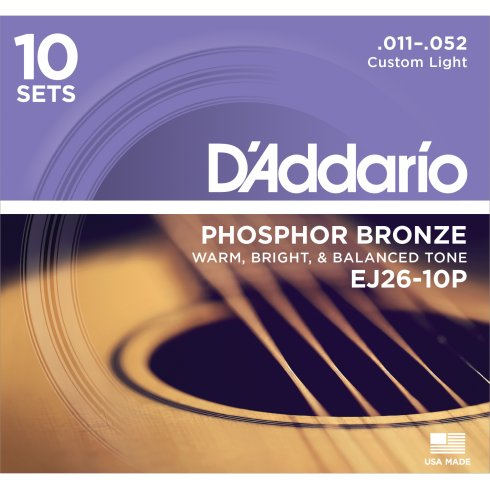 D'Addario EJ26-10P Phosphor Bronze Acoustic Guitar Strings 11-52 Custom Light, 10-Pack