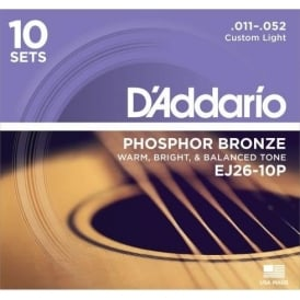 D'Addario EJ26-10P Phosphor Bronze Acoustic Guitar Strings 11-52 Custom Light, 10-Pack