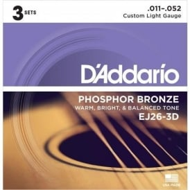 D'Addario EJ26-3D Phosphor Bronze Acoustic Guitar Strings 11-52 Custom Light 3-Pack