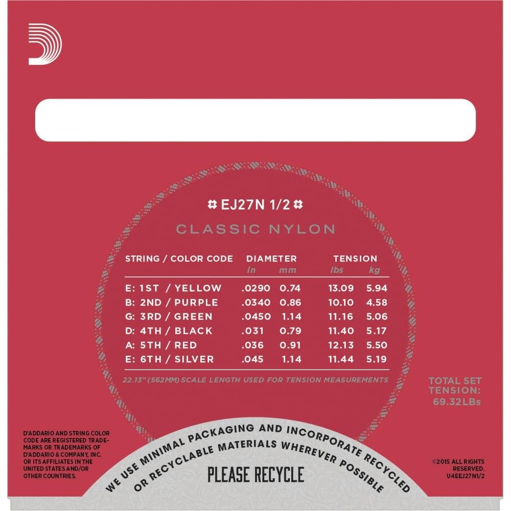 D'Addario EJ27N 3//4 Size Classical Guitar Clear Nylon Strings 3//4 scale guitar