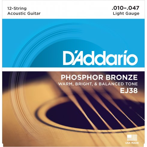 D'Addario EJ38 Phosphor Bronze Acoustic Guitar Strngs 10-47 12-String Extra Light