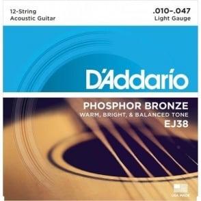 D'Addario EJ38 Phosphor Bronze Acoustic Guitar Strngs 10-47 12-String Extra Light