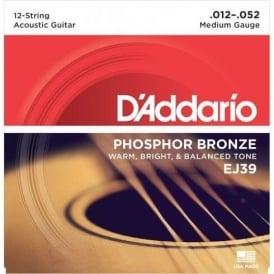 D'Addario EJ39 Phosphor Bronze Acoustic Guitar Strings 12-52 12-String Medium