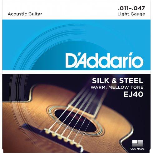 D'Addario EJ40 Silk & Steel Acoustic Guitar Strings 11-47