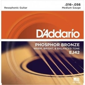 D'Addario EJ42 Phosphor Bronze Acoustic Guitar Strings 16-56 Resophonic