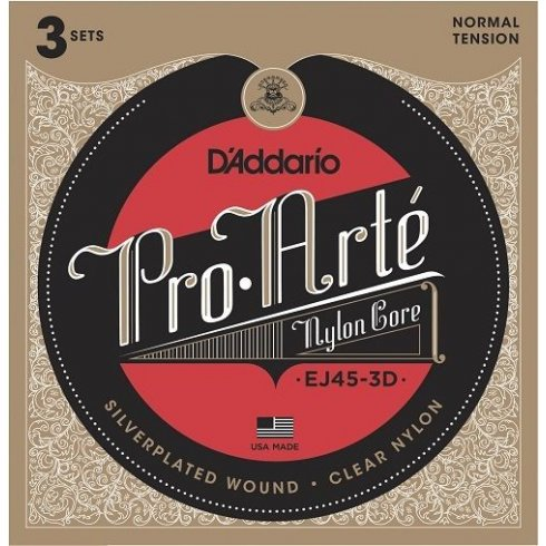 D'Addario EJ45-3D Pro Arte Classical Normal Tension Guitar Strings 3-Pack