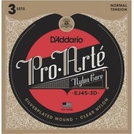 D'Addario EJ45-3D Pro Arte Classical Normal Tension Guitar Strings 3-Pack
