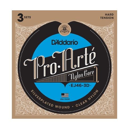 D'Addario EJ46-3D Pro Arte Classical Hard Tension Guitar Strings 3-Pack