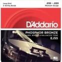 D'Addario EJ55 5-String Banjo Strings, Phosphor Bronze Wound, Loop End, 10-23 Medium