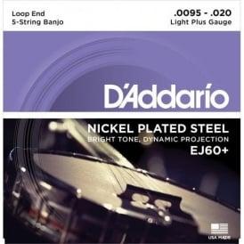 D'Addario EJ60+ 5-String Banjo, Nickel Wound, Loop End, 09.5-20 Light Plus