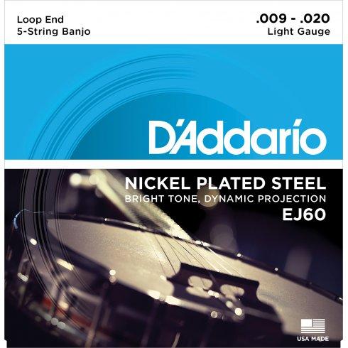 D'Addario EJ60 5-String Banjo, Nickel Wound, Loop End, 9-20 Light