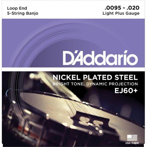 D'Addario EJ60+ 5-String Banjo, Nickel Wound, Loop End, 9.5-20 Light Plus